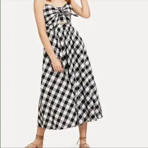 Front Tie Gingham Print Pocket Dress